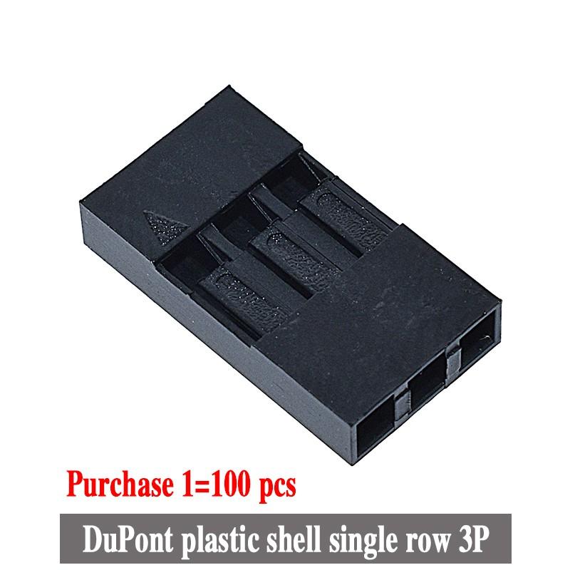 100 Vỏ nối đầu dây cáp dupont 3P làm từ nhựa 2.54mm