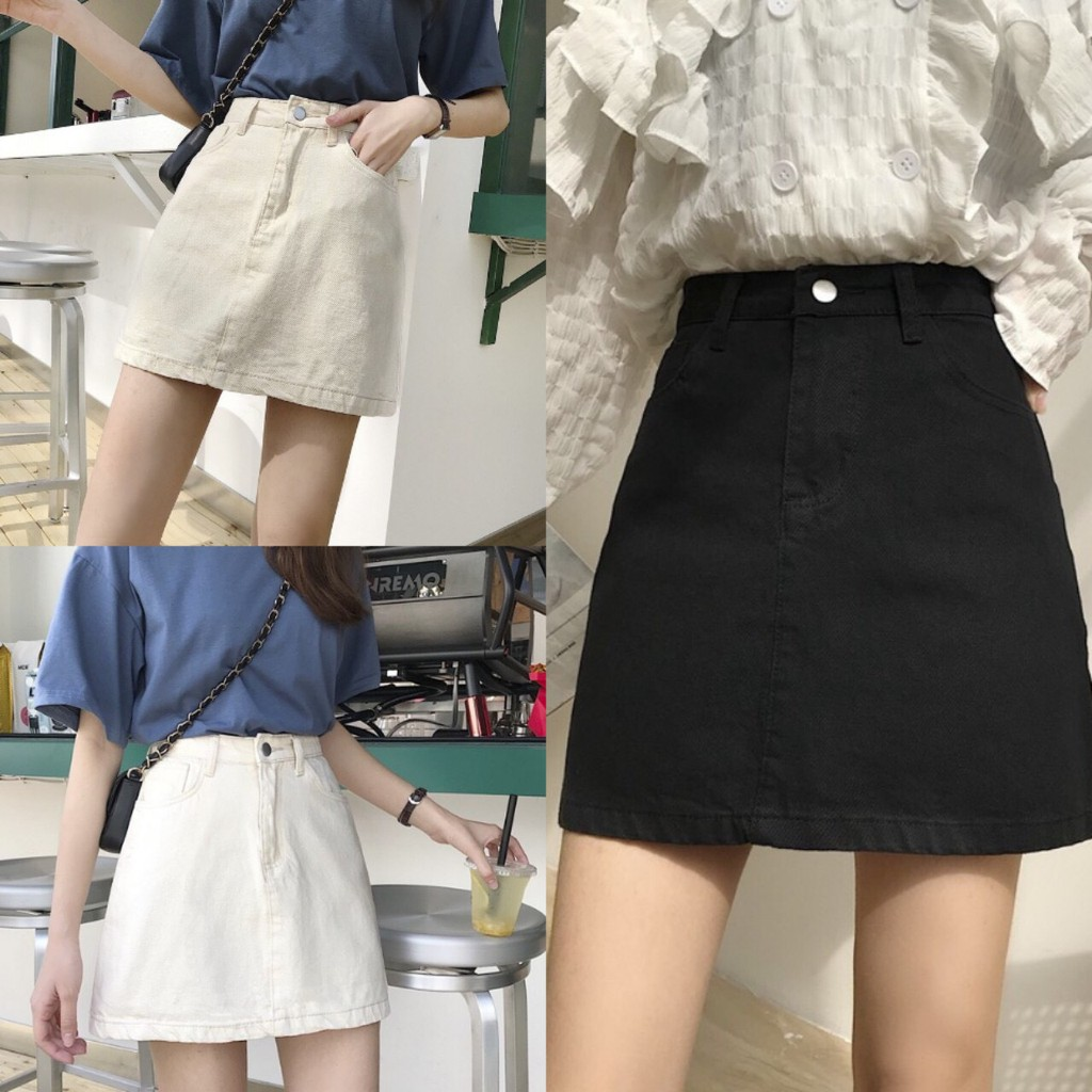 Chân váy chữ A lưng cao kiểu dáng đơn giản phong cách Hàn Quốc cho nữ  - Hàng có sẵn
