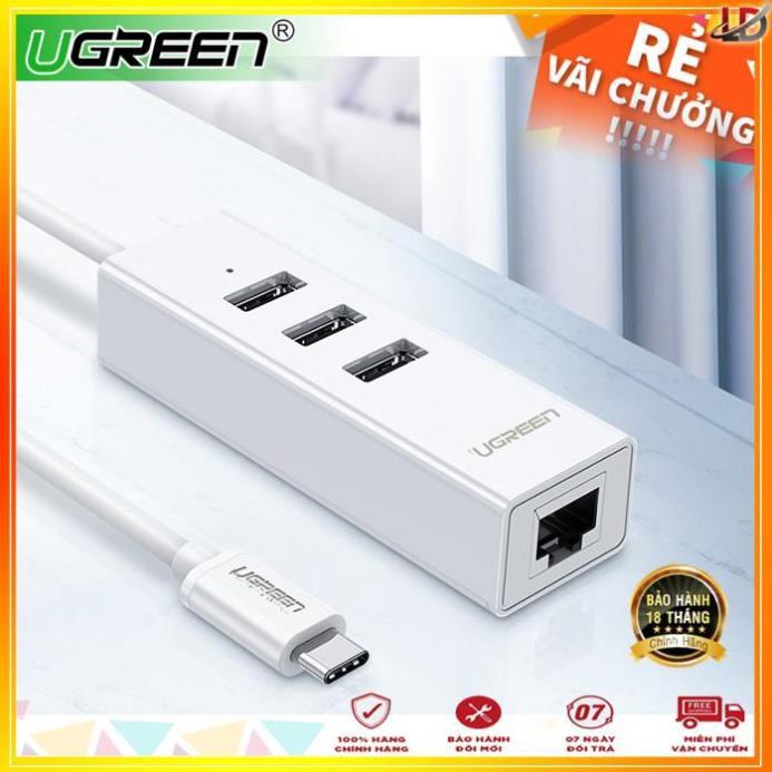 [Mã 267ELSALE hoàn 7% đơn 300K] Cáp chuyển đổi USB type C sang Ethernet RJ45 + Hub 3 cổng USB 2.0 dài 30cm UGREEN 20792