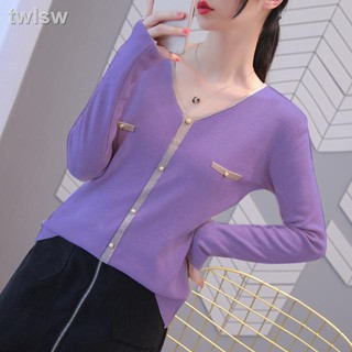Áo Sweater Tay Dài Màu Tím Phong Cách Thời Trang Hàn Quốc 2020