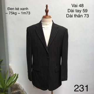 (32 mẫu) Áo vest / blazer nam xuất Hàn chất bóng họa tiết kẻ dọc dự tiệc hàng secondhand si tuyển