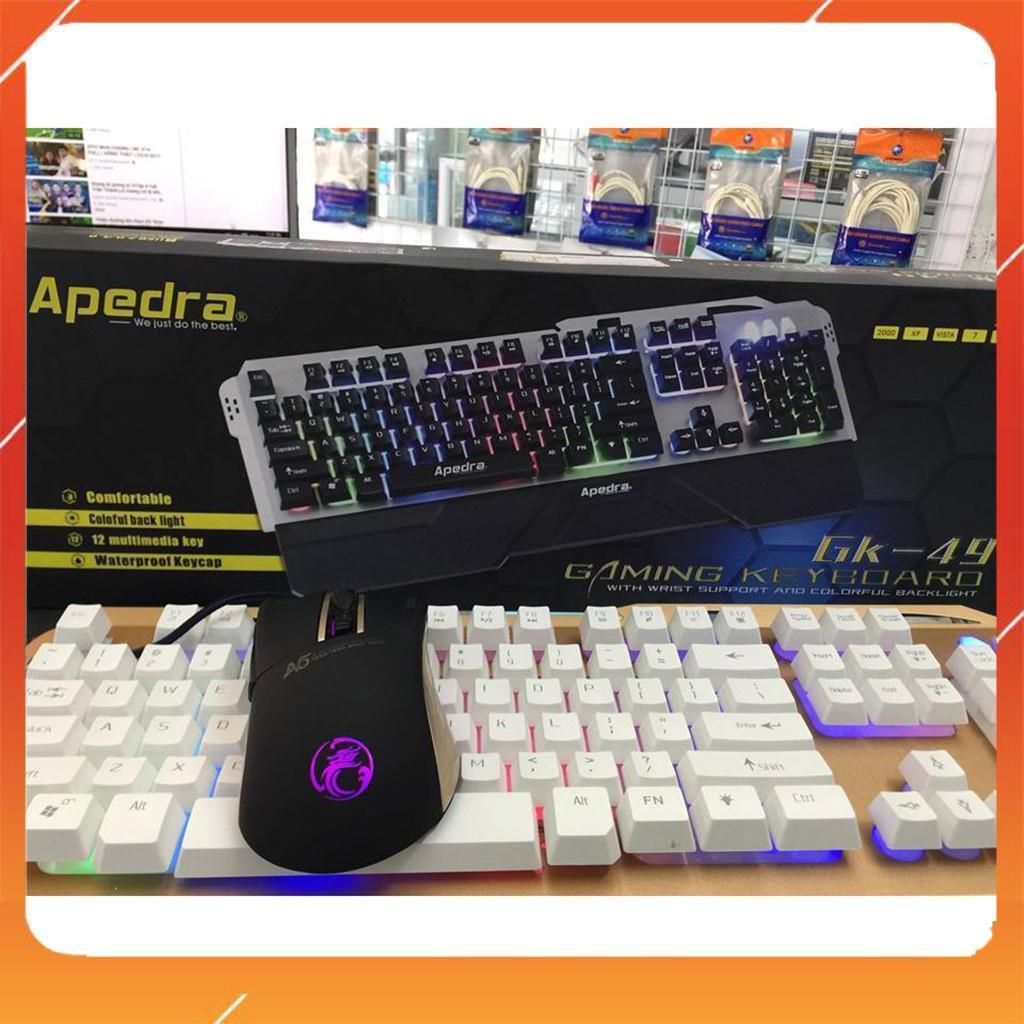 [HÀNG SIÊU CẤP] Bộ phím chuột Gaming Apedra GK49 + A5 - Có kê tay - Led 7 màu - BH 12 tháng  [CHÍNH HÃNG]