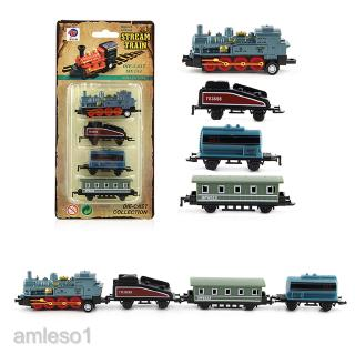 Mini Blue Pull Back Train Set with Die-Cast Engine Locomotive Collectible