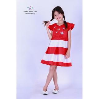 Đầm bé gái Ninh Khương - Đầm cổ tim cánh tiên 2 lớp