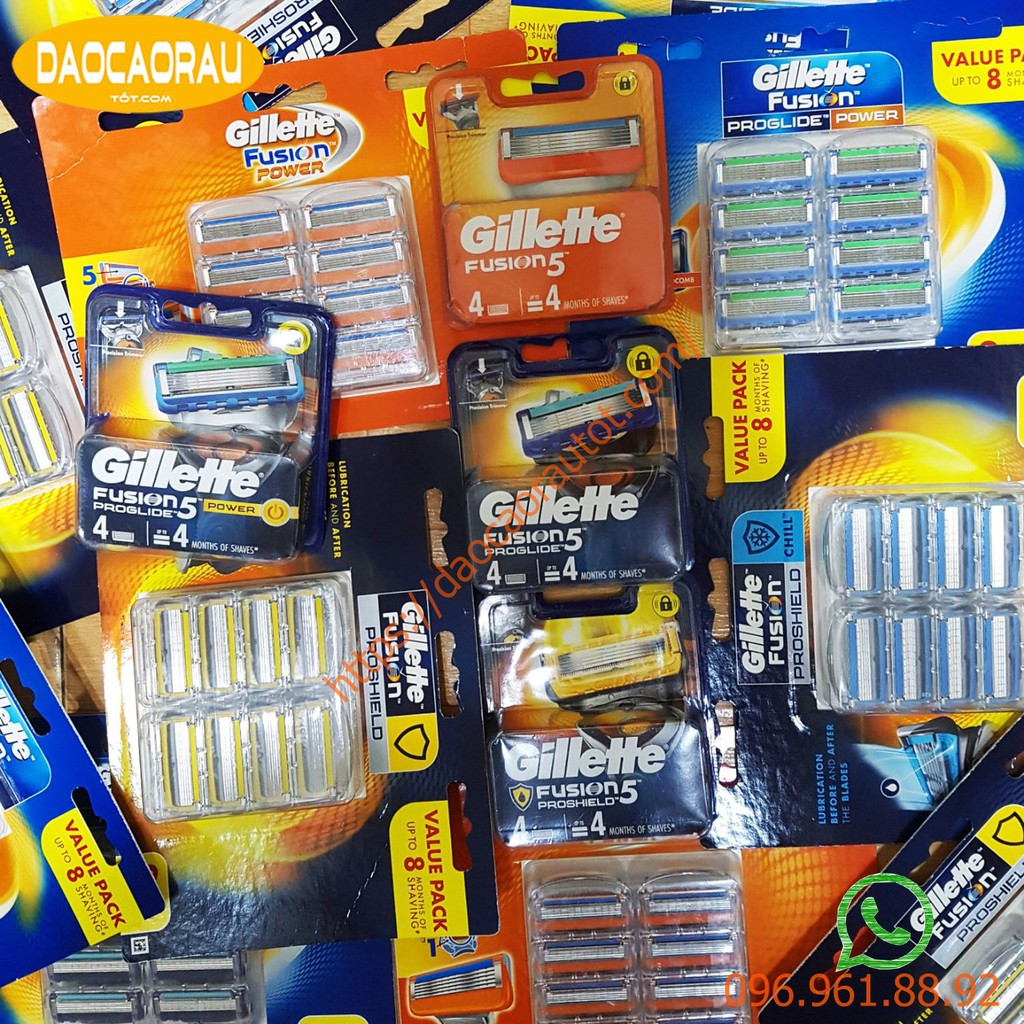 Hộp lưỡi dao cạo râu Gillette 5 lưỡi Fusion/Proglide/Proshield