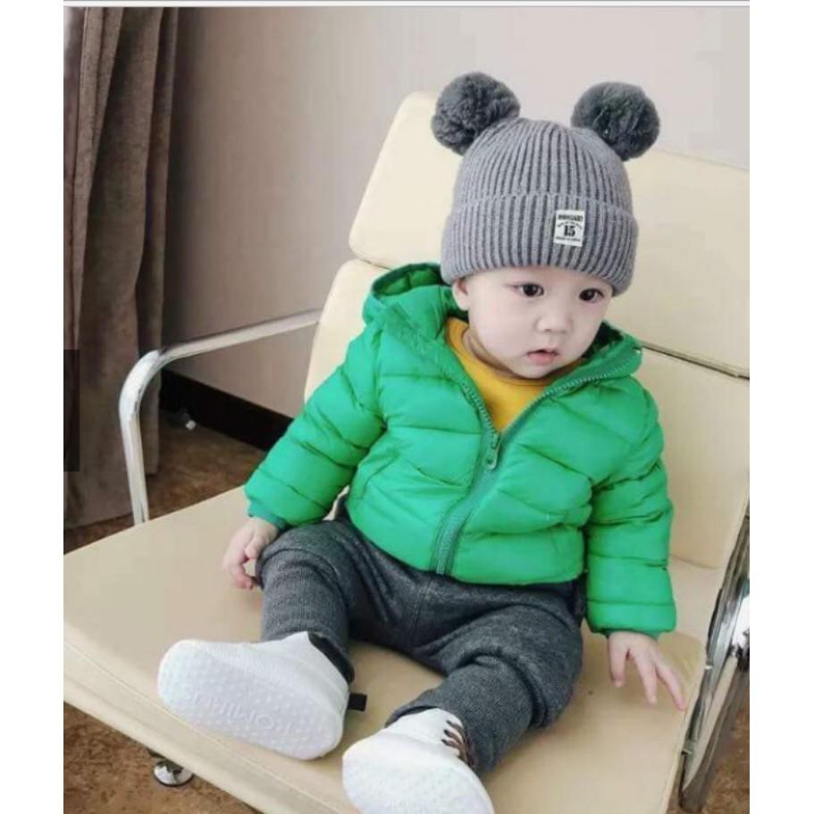 Mũ len 2 quả bông dễ thương cho bé( từ 1-4 tuổi)