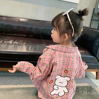 Áo Sơ Mi Tay Dài Kẻ Sọc Ca Rô Hoạ Tiết Hoạt Hình Phong Cách Hàn Quốc Thời Trang Mùa Thu 2020 Cho Bé Gái