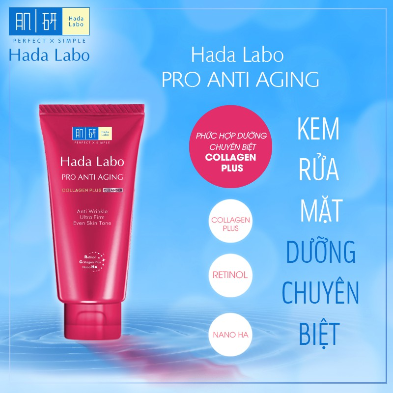 Kem rửa mặt dưỡng chuyên biệt chống lão hóa Hada Labo Pro Anti Aging Cleanser 80g