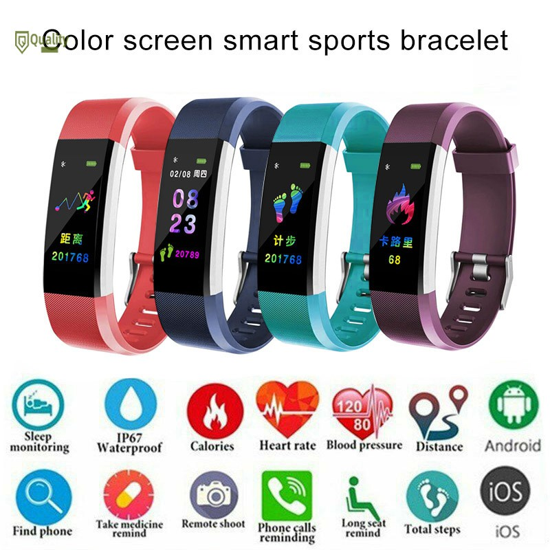 TH♥ ID115 Plus Bluetooth Smart Watch Pedometer Fitness Watch with Heart Rate Monitor IP67 Waterproof