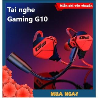 Tai Nghe Nhét Tai Chống Ồn Gaming G10 Cao Cấp Siêu Ngầu Dùng Cho Cả Máy Tính, Điện Thoại,  Có Mic Rời - Tặng Bộ Phụ Kiện