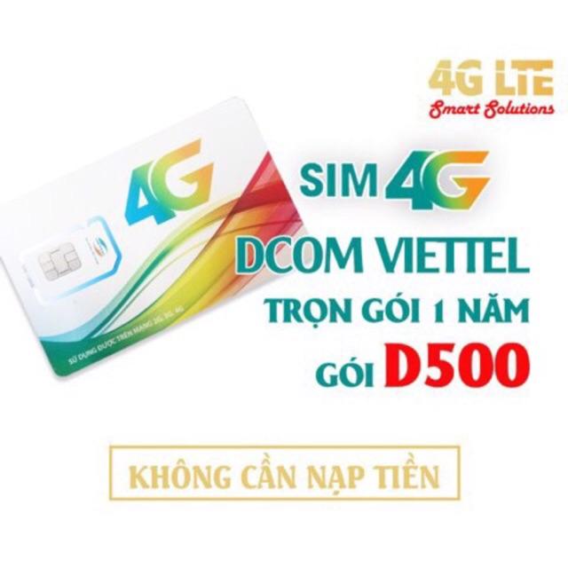 Sim 4g viettel D500 trọn gói 4gb/tháng/12 tháng không cần nạp thẻ