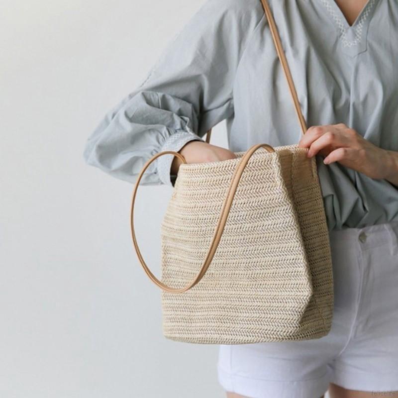 Women Durable Straw Beach Linen Woven Bucket Bag Casual Tote Handbags