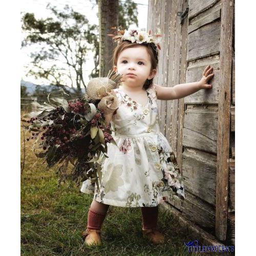 Đầm sát nách họa tiết hoa xinh xắn cho bé gái