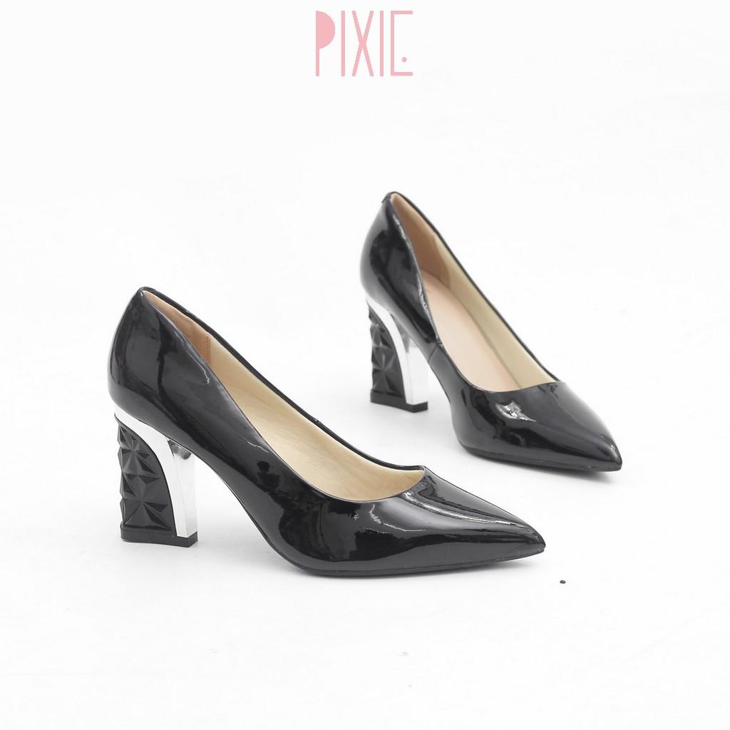Giày Cao Gót 7cm Đế Vuông Da Bóng Mũi Nhọn Màu Đen Pixie X438
