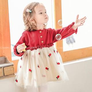 Váy Đầm Dài Tay Cho Bé Noel Tết – Váy Thu Đông Chất Thun Nhung Phối Lưới 1 2 3 4 tuổi NM QC