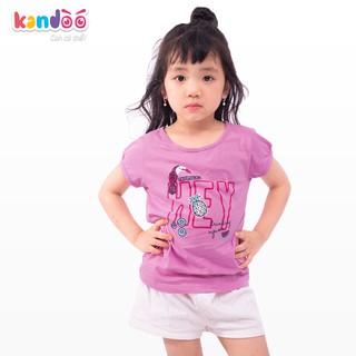 Áo T-shirt bé gái KANDOO 3 màu đáng yêu, chất liệu cotton cao cấp mềm mịn, thoáng mát, an toàn cho bé - DGTS1735