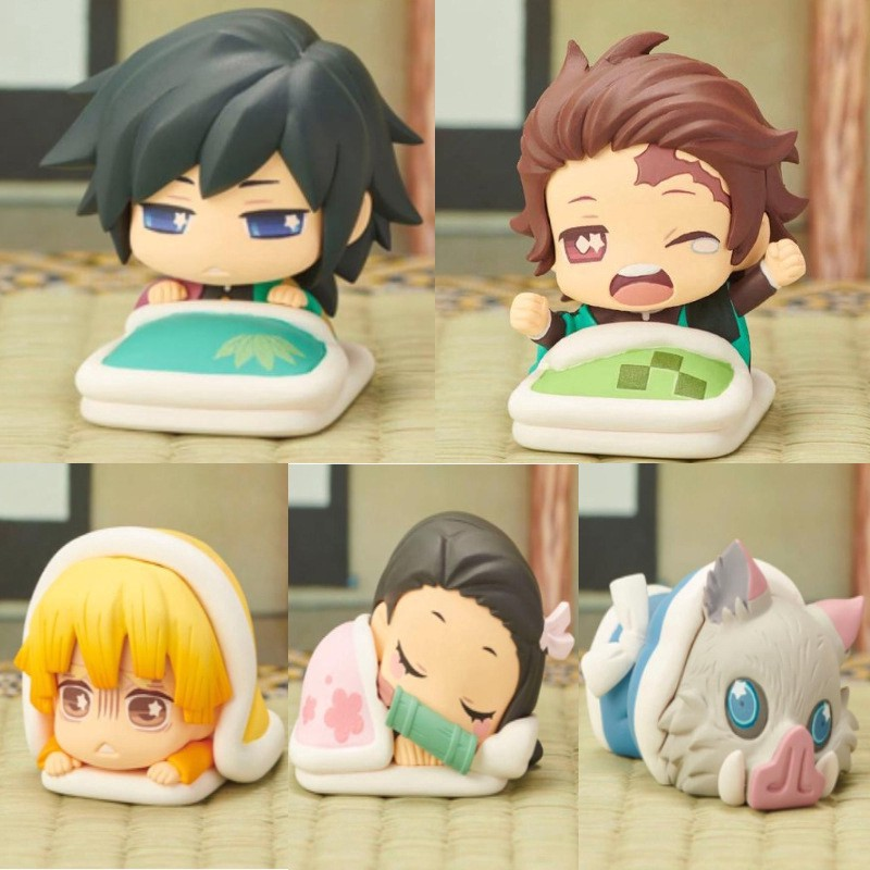 5 Pcs/set Demon Slayer Tanjirou Nezuko Statue Sleeping Doll Anime Anime Cosplay PVC Model Kimetsu No Yaiba