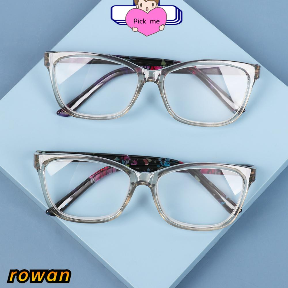 ROW Portable Floral Reading Glasses Anti Glare Spectacle Frames Presbyopia Eyeglasses With Diopters +1.0~+4.0 Ultralight HD Resin Lens PC Frame...