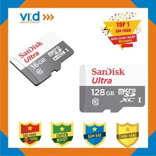 Thẻ nhớ San Disk MicroSD Ultra 128GB Hàng chính hãng thẻ nhớ thông minh full HD nét căng thumbnail