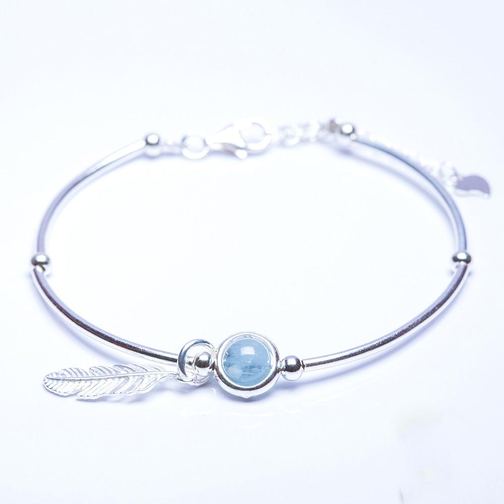 ANCARAT - Vòng tay bạc Lông chim đá phong thủy -