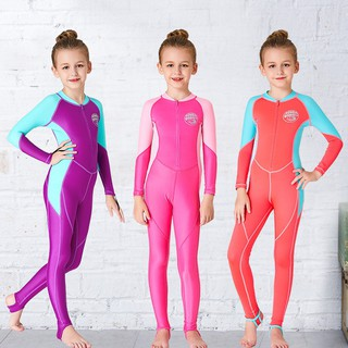 Children's diving suit girls sunscreen swimwear Siamese long sleeve Lycra quick-
