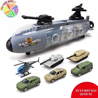 Tàu ngầm chiến đấu chứa 6 mẫu xe tăng, máy bay quân sự, đồ chơi mô hình cho bé lứa tuổi 3+,chất liệu hơp kim kết hợp ABS
