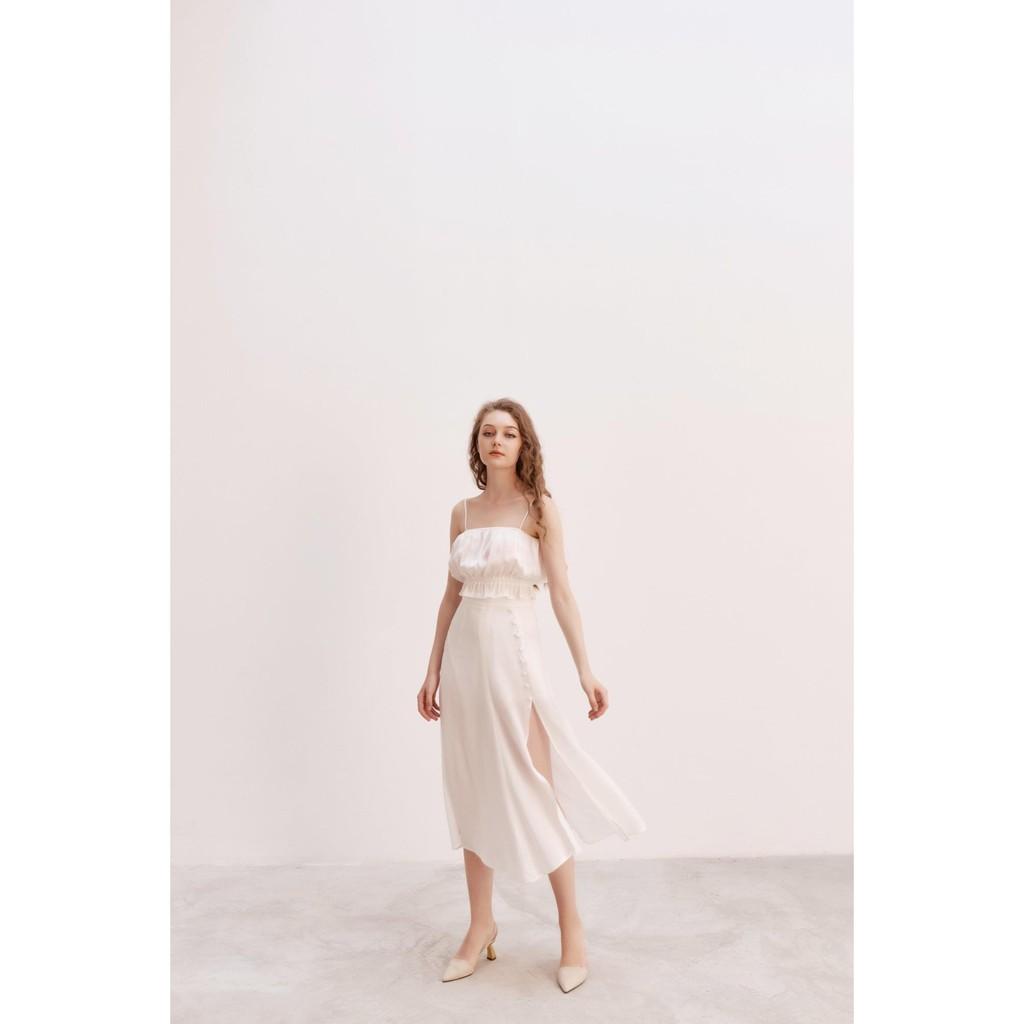 Popbirdy-Chân Váy Lụa Xẻ
