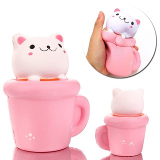 1Pcs Creative Cat In The Cup Vent Toy PU Slow Rebound Toys