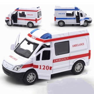 [Mã TOYJAN hoàn 20K xu đơn 50K] Đồ chơi xe cứu thương mini bằng sắt tỉ lệ 1:32 mở cửa có đèn và âm thanh