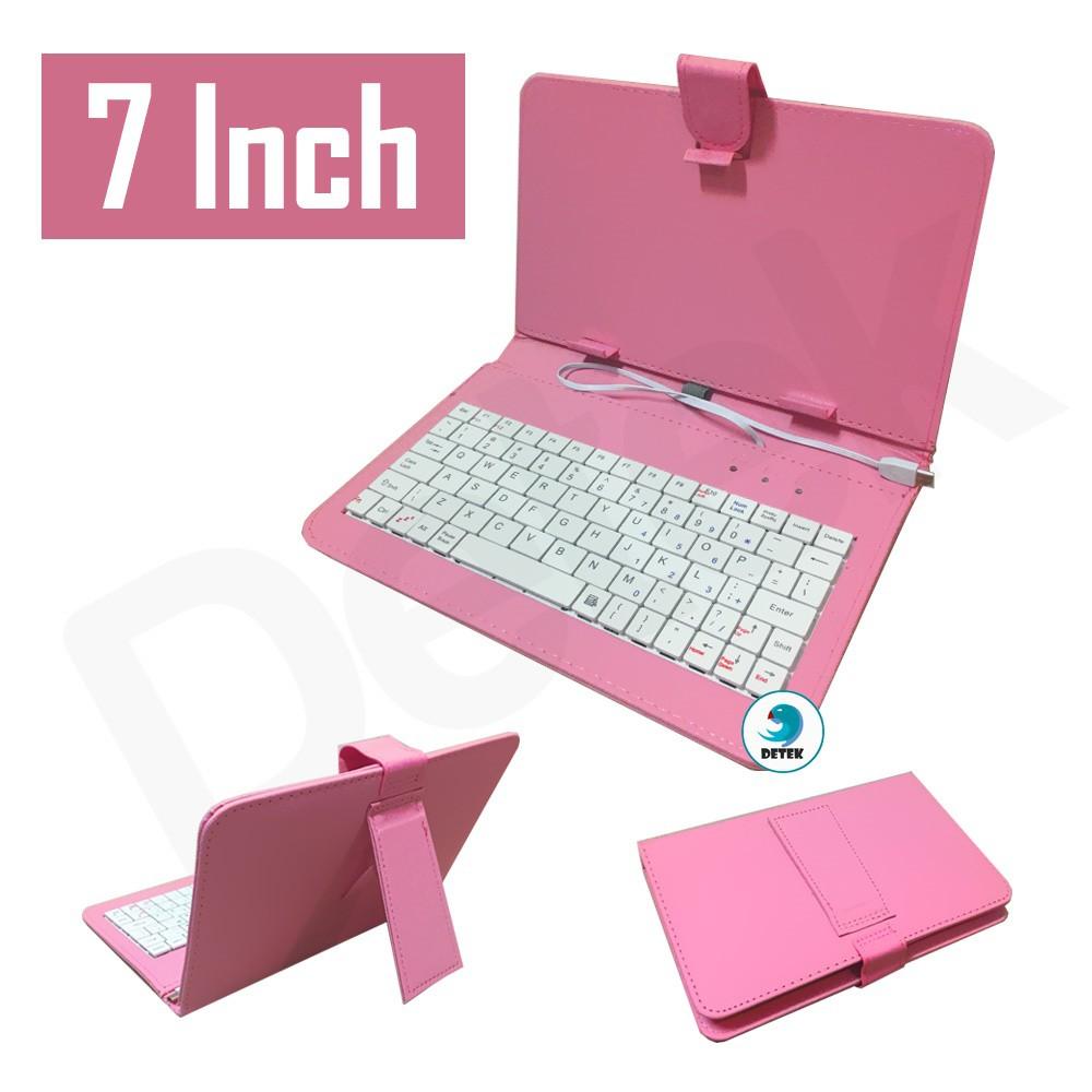 Bao da bàn phím 7 inch điện thoại máy tính bảng Android có OTG (Hồng)