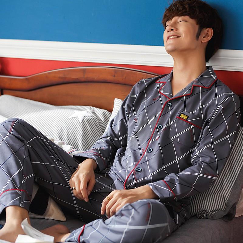 Đồ bộ Pijama nam dài tay, vải cotton 100% thoáng mát về mùa hè, ấm áp về mùa đông, họa tiết kẻ sọc nam tính, khỏe khoắn Bộ đông