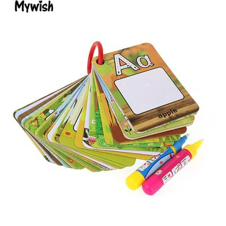 👶🏼26 Pcs Letter Learning Cards Cartoon Painting Board Pens Educational Tools