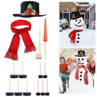Making Snowman Christmas Dress Up Building Tools Winter Snow Outdoor Christmas Decoration