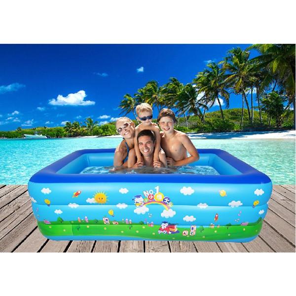 (GIAO NGẪU NHIÊN)Bể phao bơi 3 tầng 210*145*65cm Bể bơi hình chữ nhật cho bé vui chơi thỏa thích