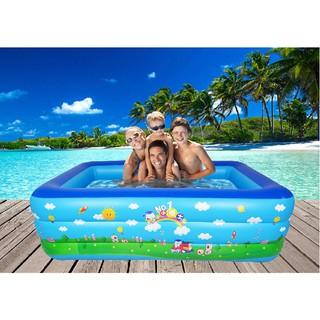 Bể phao bơi 3 tầng cho bé và gia đình cỡ lớn 2m1 + tặng bơm điện 2 chiều