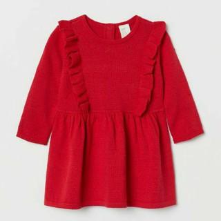 Váy len đỏ H&M chuẩn auth UK sẵn sz6-24m cho bé gái