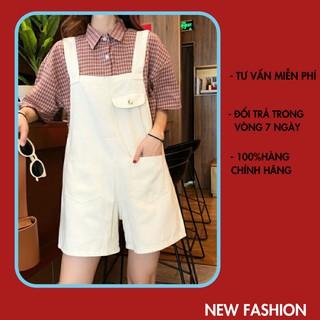 (ảnh thật) yếm quần ngắn yếm dáng xuông , vải kaki mềm mát màu trắng sữa, unisex, ulzzang, giá rẻ, XUONGMAYHANOI.2 thumbnail