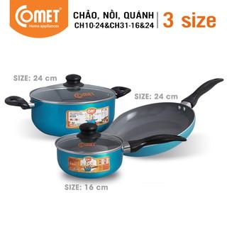 [Mã HLCOMET12 giảm 15% tối đa 50K đơn 100K] Combo Chảo nồi quánh Ceramic COMET - CH10-24&CH31-16&24 thumbnail