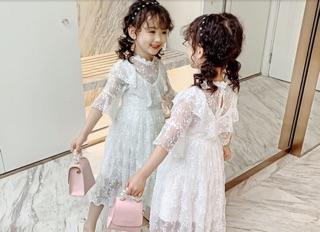Váy đầm công chúa bé gái dáng dài maxi trắng tinh khôi 16-30kg