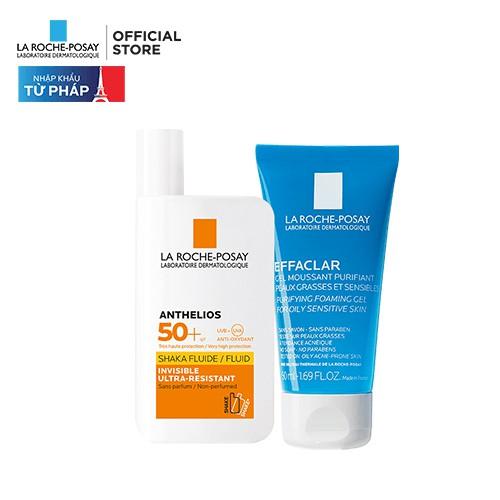 Bộ chống nắng không nhờn rít La Roche-Posay Anthelios XL Shaka Fluid 50ml & Gel rửa mặt cho da dầu mụn 50ml