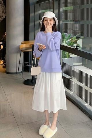 Áo nỉ màu trơn cổ tròn lót nhung dày phong cách Hàn Quốc mẫu mới thu đông+Váy nửa thân màu trắng