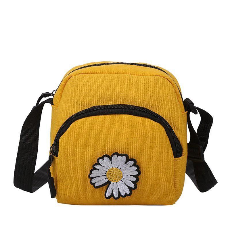Túi tote đẹp vải canvas đeo chéo mềm đi học giá rẻ đính họa tiết hoa cúc