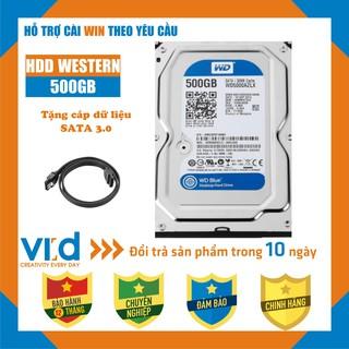 Ổ. cứng HDD 500GB Western Blue - Tặng cáp sata 3.0  - Hàng nhập khẩu tháo máy đồng bộ mới 98% - Bảo hành 12T