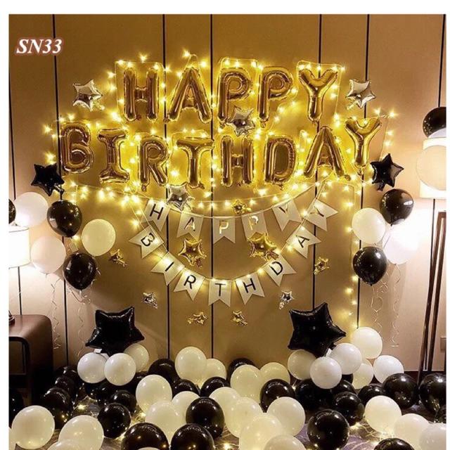[Sản Phẩm Hot] Set Trang Trí Sinh Nhật Happy Birthday SN33 Có Đèn Led