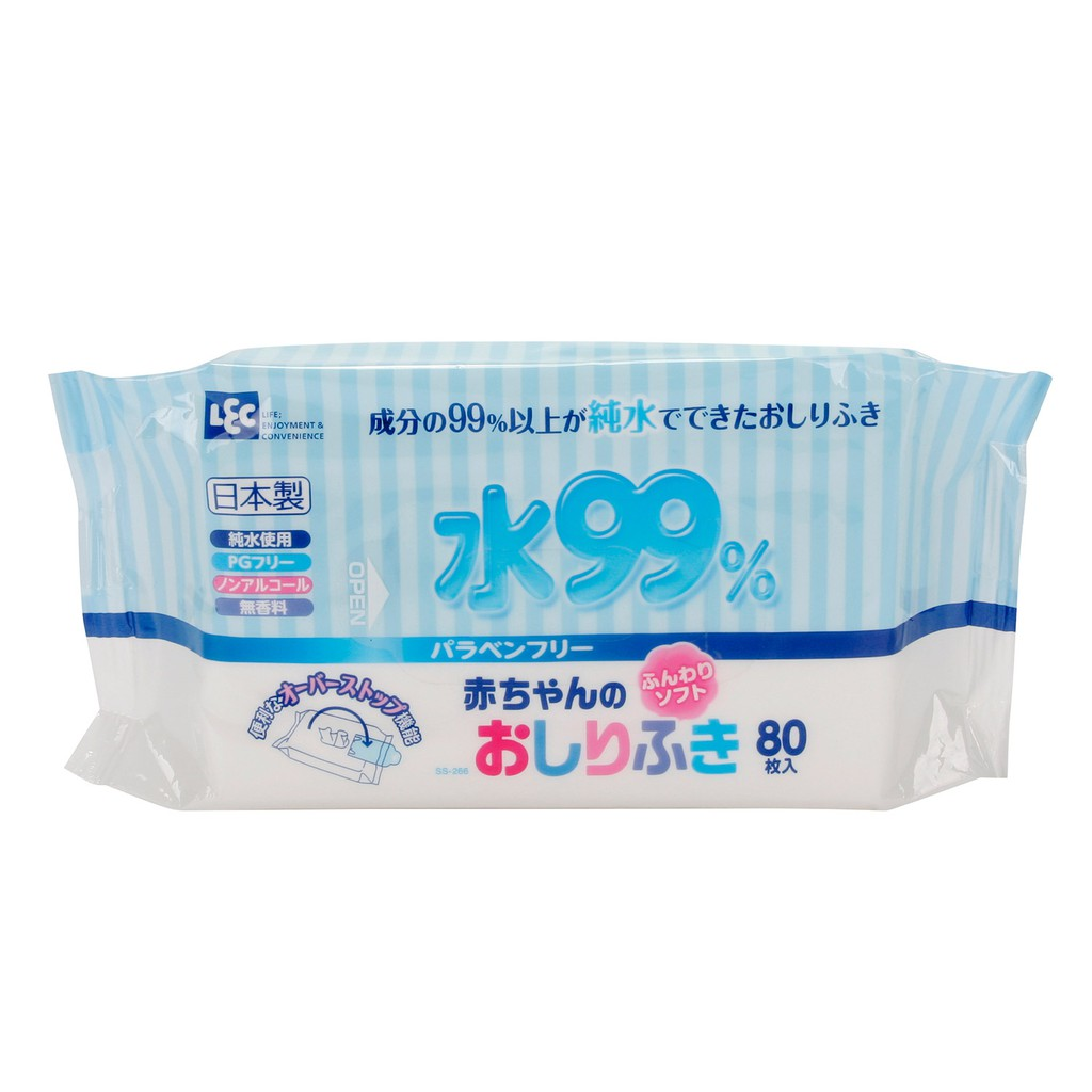 Combo 3 giấy ướt LEC nước tinh khiết 99% SS266 80 tờ