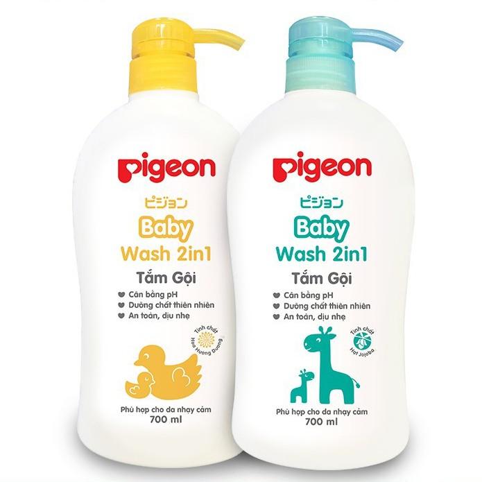 Sữa tắm gội dịu nhẹ Pigeon 700ml 2in1 Hoa hướng dương / Jojoba
