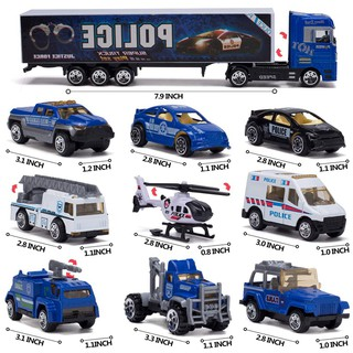 10-In-1 Police Transport Truck, Mini Car, Loaded Car Toy Set