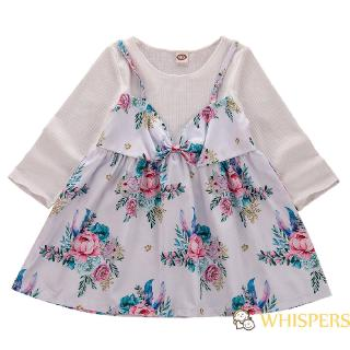 ❀Strawberries❀-Toddler Baby Girls Long Sleeve Floral Princess Dresses 0-4 Years