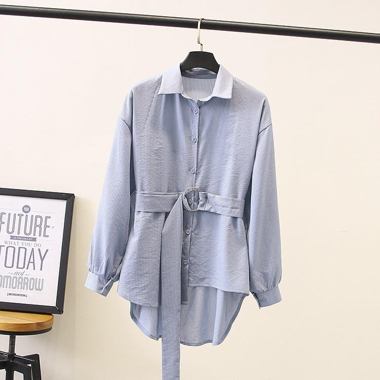 Fashion new large size female growth sleeve shirt 正 Han shirts girls clothing plus fertilizer XL women's spring Korean