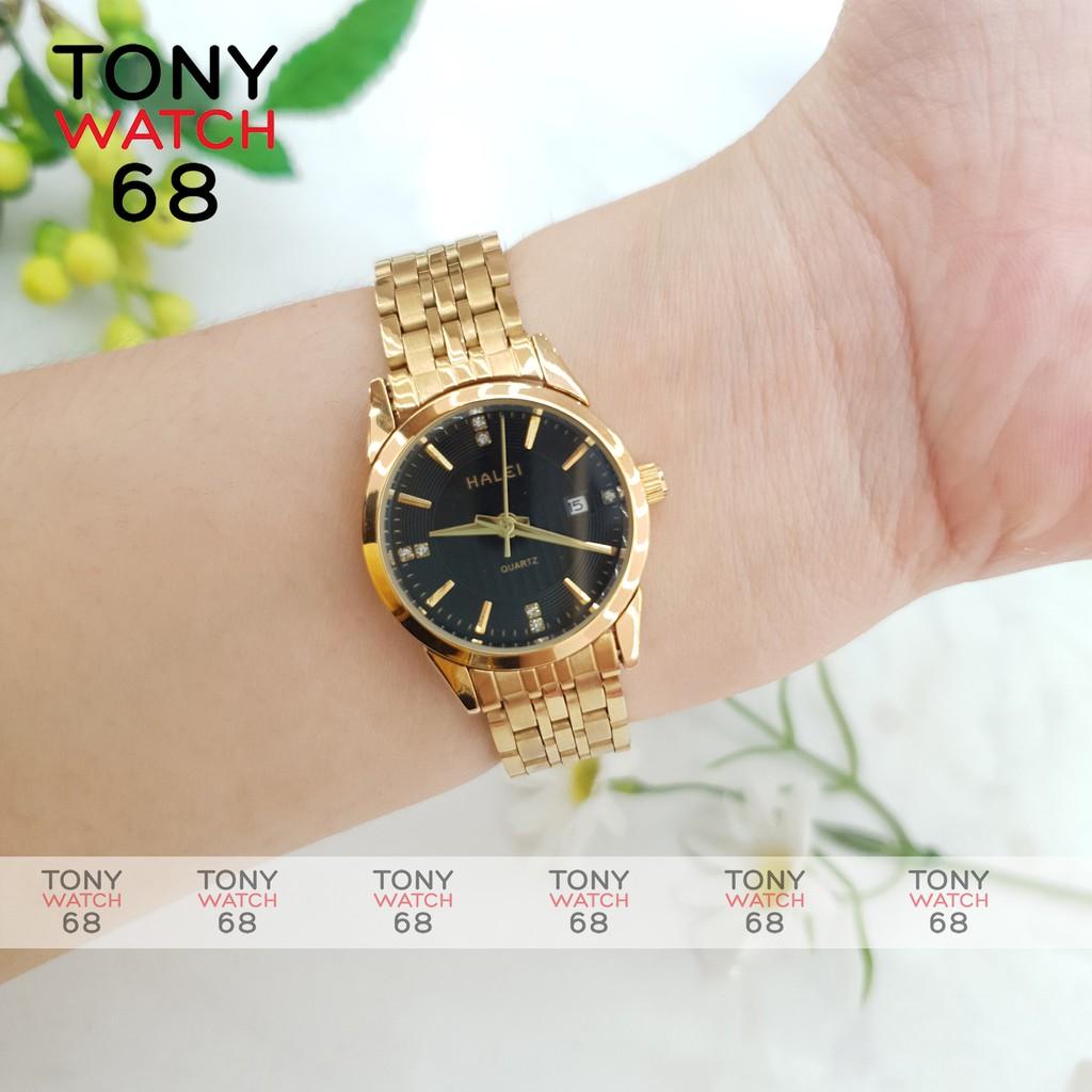 Đồng hồ đôi đeo tay cặp nam nữ Halei chính hãng giá rẻ dây thép chống nước Winsley